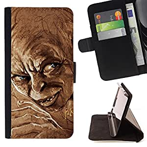 DEVIL CASE - FOR HTC One M7 - Elf Dwarf Blue Eyes Fairytale Movie Character - Style PU Leather Case Wallet Flip Stand Flap Closure Cover