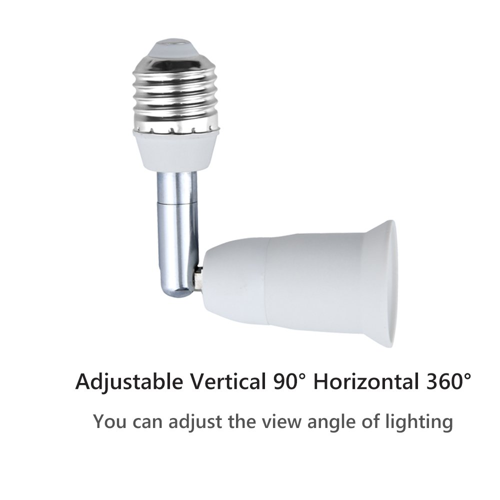 Bonlux E26/E27 Light Socket Extender Adapter, E26/E27 to E26/E27 Adjustable Extension, Flexible Medium Screw Base Light Bulb Socket Converter, Adjustable Vertical 90° Horizontal 360° (5-Pack) by Bonlux (Image #5)