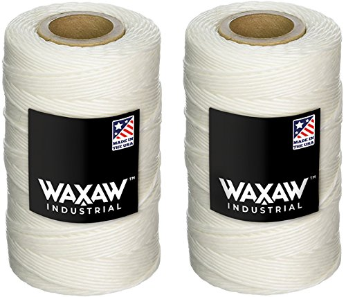 Nine Loop - Waxed 100% Polyester White Twine/Cord | 1005 feet (335 yards) x 2 rolls | 9-ply | 115-Pound Loop Strength Cable Tie Down Lacing