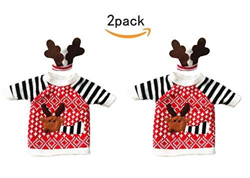 JKLcom Wine Bottle Bag(Pack of 2) Deer Clothes Hat Wine Bottle Cover Bag for Christmas Hostess Gift