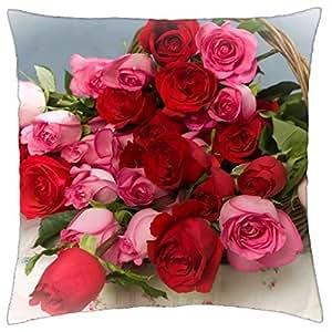 Kobalter Roses Flowers Lot Basket–Funda de Almohada Manta (16