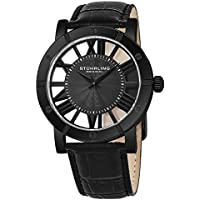 Stuhrling Original Men's 'Classic' Swiss Quartz Stainless Steel and Leather Casual Watch, Color:Black (Model: 881.03)