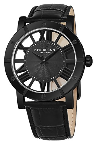 7551c94fd94 ... Stuhrling Original Winchester Mens Black Watch - Swiss Quartz Analog  Date Wrist Watch for Men -