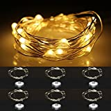 LXS Battery Operated Waterproof Season String Lights 6 Sets of 2M/20 LEDS For Christmas Wedding Party,Amazingly Bright - Ultra-thin Flexible Easy to Wrap Silver Wire,Fairy Light Effect(Warm White)