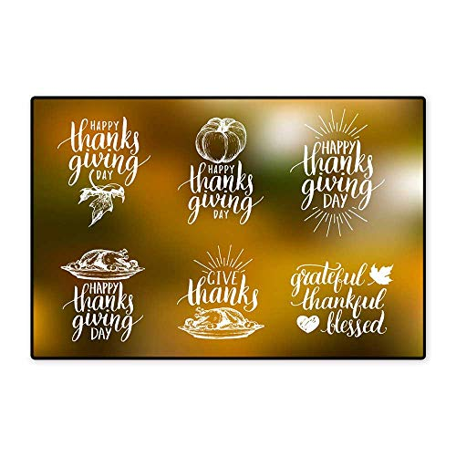 Door Mats for insideVector Thanksgiving Lettering with Sketches for Invitations Greeting Cards Calligraphy Set Grateful Thankful Blessed etc W23.62 xL35.43 -