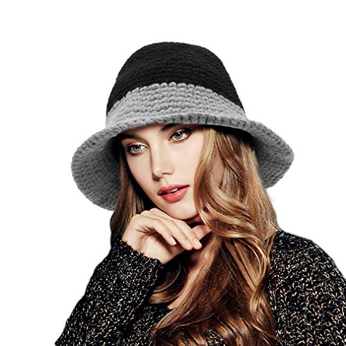 GEMVIE Women Ladies Winter Wool Knitted Wide Brim Bucket Hat Elegant Bow Warm Foldable Travel Outdoor Bucket Basin Hat