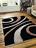 Rugsotic Carpets Hand Tufted Shag Polyester 8′ X 10′ Area Rug Geometric Black K00002 Review