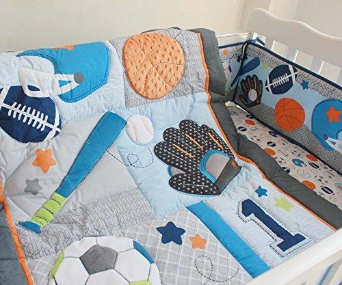 NAUGHTYBOSS Baby Bedding Set Cotton 3D Embroidery Ball Sport Quilt Bumper Bedskirt Mattress Cover Diaper Bag Window Curtain Blanket 10 Pieces Set Blue by NAUGHTYBOSS (Image #3)