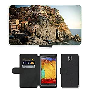 Hot Style Cell Phone Card Slot PU Leather Wallet Case // M00169075 Cinque Terre Italy Houses Mountains // Samsung Galaxy Note 3 III N9000 N9002 N9005