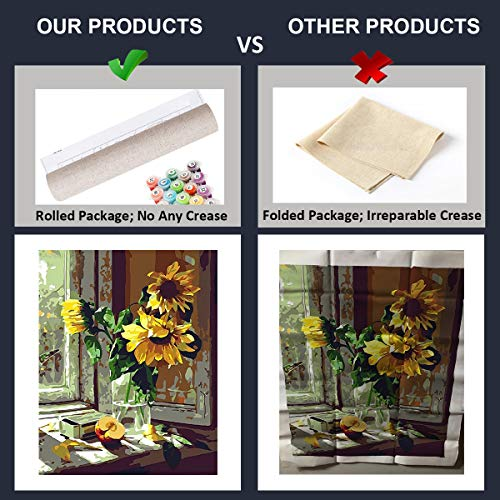 Sunflower Paint by Number for Adult Kids Christmas Birthday Gifts Acrylic Digital Painting Kits for Student Teens Beginner DIY Oil Paints on Canvas Painting by Number for Home Wall Decoration Picture