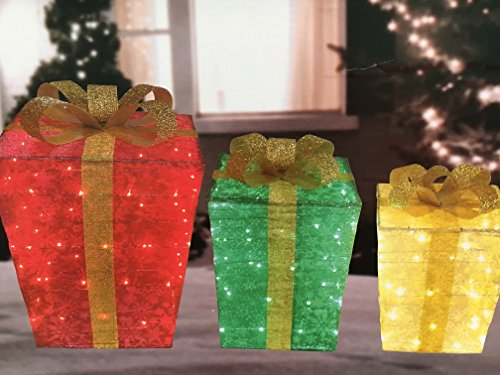 3pc Lighted Snowflake Glittering Christmas Gift Boxes Presents Outdoor Christmas Decor by Good Tidings (Image #1)