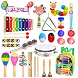 Toddler Musical Instruments- Bigear 15 Types 22pcs Wooden Toddler Musical Percussion Instruments Toy Set Including Xylophone Flute Tambourine Maracas for Kids Preschool Educational, Musical Toys Set with Storage Backpack (Red)