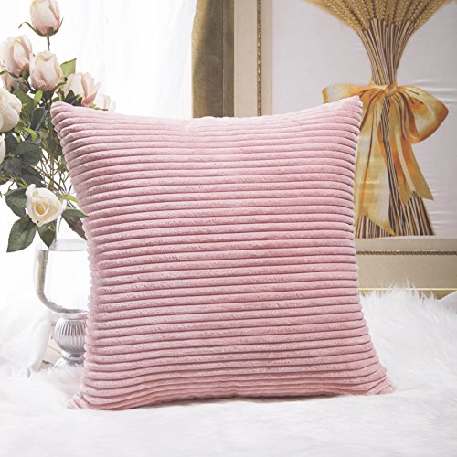 HOME BRILLIANT Plush Velvet Corduroy Throw Euro Pillow Sham Cushion Cover for Sofa, 26 x 26 inch (66cm), Baby Pink (Pillow Fur Blush)