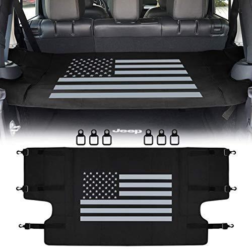 E-cowlboy Cargo Cover Shield Pad Rear Trunk Protector Item Organizer for Jeep Wrangler 2007-2018 & Sports Sahara Freedom Rubicon & Unlimited