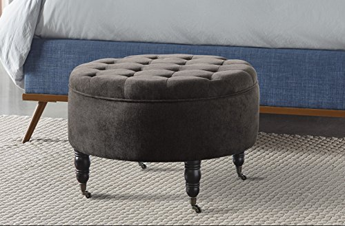 Elle Decor Quinn Round Tufted Ottoman with Storage and Casters – Gray