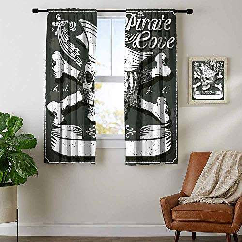 Mozenou Pirate, Curtains Decoration, Pirate Cove Flag Year of 1650 Vintage Frame Crossbones Floral Swirls Hat Heart, Curtains and Drapes for Living Room, W96 x L72 Inch Black White Grey