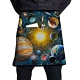 Jaylon Waist Short Apron Half Chef Apron Planet Solar System Cooking Apron with Pockets Home Kitchen Cooking Pinafore
