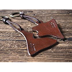 Set of 2 Handmade Leather Couples Leather Triangle Keychain - Custom puzzle key fob handmade, keyring, leather tag, key holder, personalized gifts, engrave name, custom, valentines day gifts #Brown