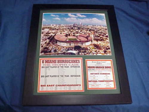 University Of Miami Hurricanes Stadium Orange Bowl 11x14 Framed & Matted 8X10 PHOTO