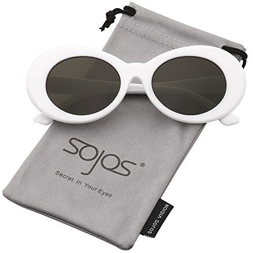 SojoS Clout Goggles Oval Mod Retro Vintage Kurt Cobain Inspired Sunglasses Round Lens SJ2039 (C25 White Frame/G15 Lens, (Cheap White Contact Lenses)
