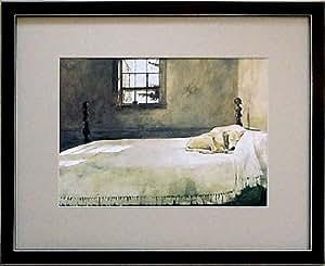 Black Framed Master Bedroom Bed Andrew Wyeth Lab Dog Prints Posters Prints