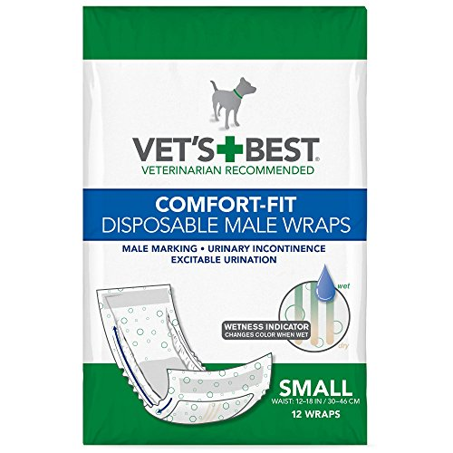 Vet's Best Comfort Fit Disposable Male Dog Diapers | Absorbent Male Wraps with Leak Proof Fit | Small, 12 Count
