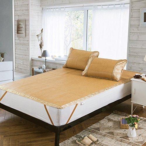 Rattan Pillow - Qbedding Rattan Cooling Summer Sleeping Pad Mattress Topper & Pillow Shams Set (Twin, Neve)