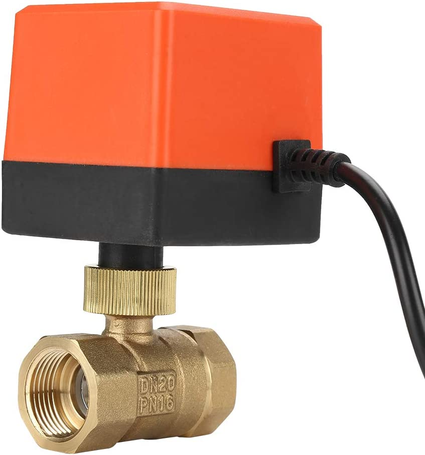 Akozon motorized brass ball valve 2 way electric valve 3 conductor 1 point control motor drive ball valve G3//4 DN20 AC220V zone valve shut-off valve for air conditioning sanitary spare parts