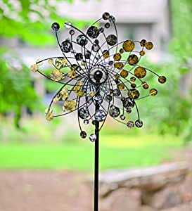 Viento & Weather oro y plata Dots metal Wind Spinner