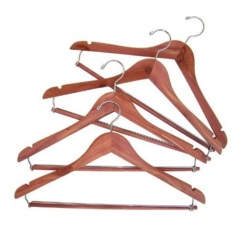CedarFresh 26340 Red Cedar Wood Clothes Hangers | Locking Trouser Bar and Swivel Hook | Set of 4