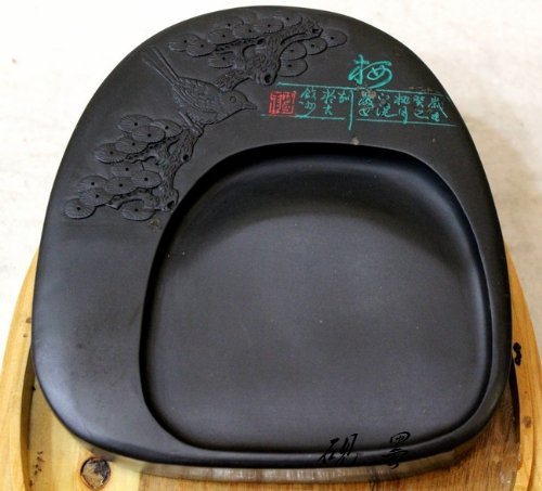 5.5 Inches High Quality She Yan Inkstone Carving Plum Blossom Magpie with Box by Charming China