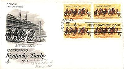 100th Running Kentucky Derby 1974 Block of Stamps Original First Day Cover