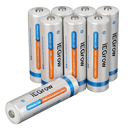 iEGrow 2800mAh AA Ni-MH Rechargeable Batteries