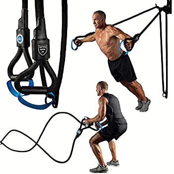 Image of Balance Beams & Bases Battle Rope ST - Ultimate 2-in-1 Battle Rope and Strength Training System, Unique 6 Pound Weighted Handles, Dual Function Mounting System, Space Saving Design, 1.5' Nylon Braided Rope