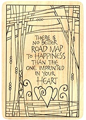 "{Single Count} Unique & Custom (3"" by 5"" Inches) ""Road Map To Happiness Quote"" Rectangle Shaped Genuine Wood Mounted Rubber Inking Stamp"