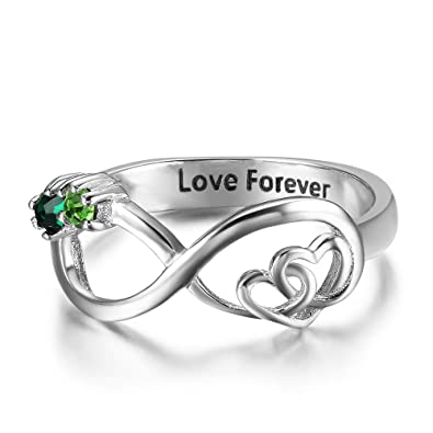 712a4db9cd Luolajewelry Infinity Double Heart Promise Rings Personalized 2 Simulated Birthstones  Engraved Names Rings for Women (