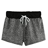Elastic Shorts Mid Waisted,Fashion Women Casual Solid Bandage Elastic Mid-Waist Lace Up Summer Short Pants,Men's Shorts,Gray,L