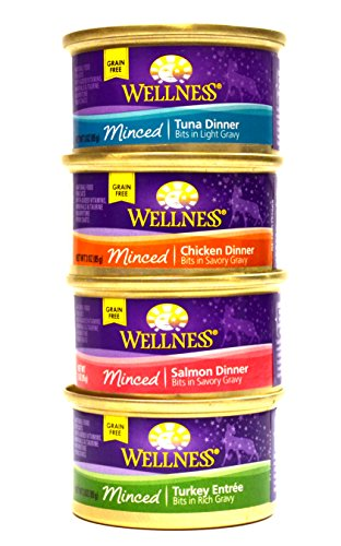 Wellness Minced Grain-Free Wet Cat Food Variety Pack - 4 Flavors (Salmon, Tuna, Turkey, and Chicken) - 12 (3 Ounce) Cans - 3 of Each Flavor (Canned Wellness Cat Food compare prices)