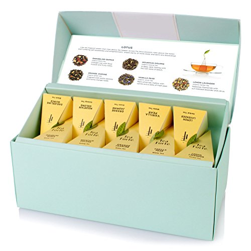 Tea Forte LOTUS Presentation Box with 20 Handcrafted Pyramid Tea Infusers - Black Tea, Green Tea, Oolong Tea, White Tea, Herbal Tea (Mother's Day Gift Baskets Uk)