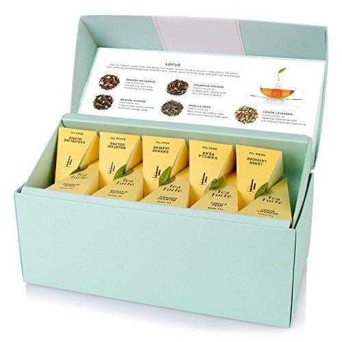 Tea Forte LOTUS Presentation Box with 20 Handcrafted Pyramid Tea Infusers - Black Tea, Green Tea, Oolong Tea, White Tea, Herbal Tea