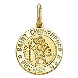 Wellingsale 14K Yellow Gold Polished Religious Saint Christopher Medallion ''Saint Christopher Protect Us'' Charm Pendant