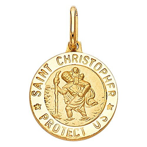 Wellingsale 14K Yellow Gold Polished Religious Saint Christopher Medallion ''Saint Christopher Protect Us'' Charm Pendant by Wellingsale®