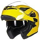 ILM Motorcycle Dual Visor Flip up Modular Full Face Helmet DOT with 6 Colors (XL, YELLOW)