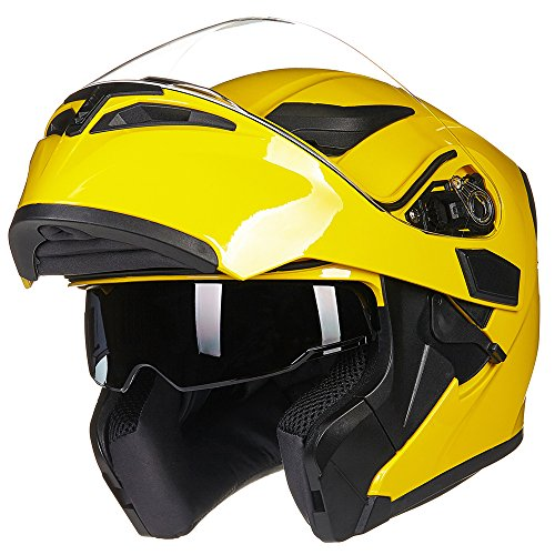 ILM Motorcycle Dual Visor Flip up Modular Full Face Helmet DOT 6 Colors (M, YELLOW)