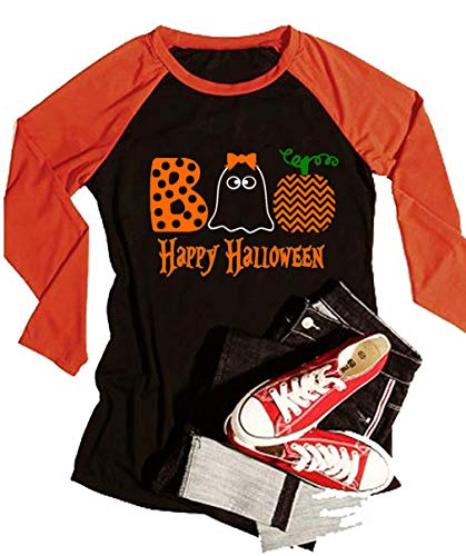 VILOVE Happy Halloween Ghost Souls Funny Tshirt Women Long Sleeve Tops Cute Shirt (X-Large, Black) ()
