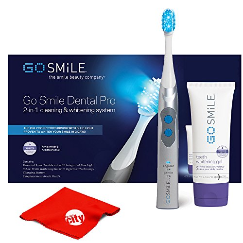 (Go Smile Sonic Blue UV Toothbrush At Home Dental Care Teeth Whitening System (Silver))