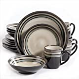 Gibson Home Lewisville 16 Piece Dinnerware Cream with Gray Reactive Metallic Rim, Cream/Gray