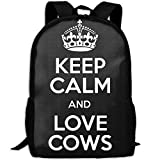Keep Calm And Love Cows Interest Print Custom Unique Casual Backpack School Bag Travel Daypack Gift