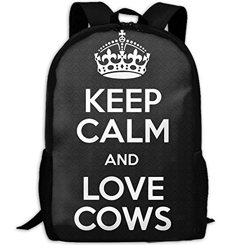 Keep Calm And Love Cows Interest Print Custom Unique Casual Backpack School Bag Travel Daypack Gift by CYMO
