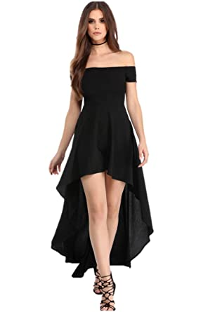 2ca7b9804ad1 Fashion Women's Sexy Off Shoulder High Low Asymmetrical Skater Dress  (Small, Black/Long